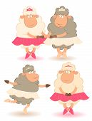 Cartoon funny sheep - ballet dancer for a design poster