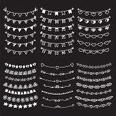 Sketch doodle dividers borders. Hand drawn vector line border set. Vector design elements. Vector illustration poster