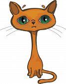 Isolate orange single sad cat with big green eyes on white background poster