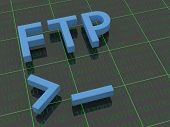 FTP - The letters FTP on a background filled with ones and zero's. Below the letters FTP a terminal cursor is shown. poster