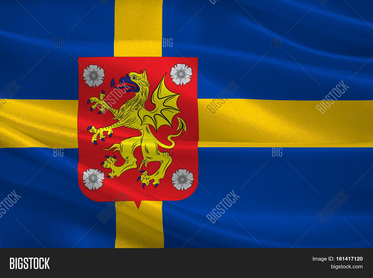 Flag Ostergotland Image Photo Free Trial Bigstock