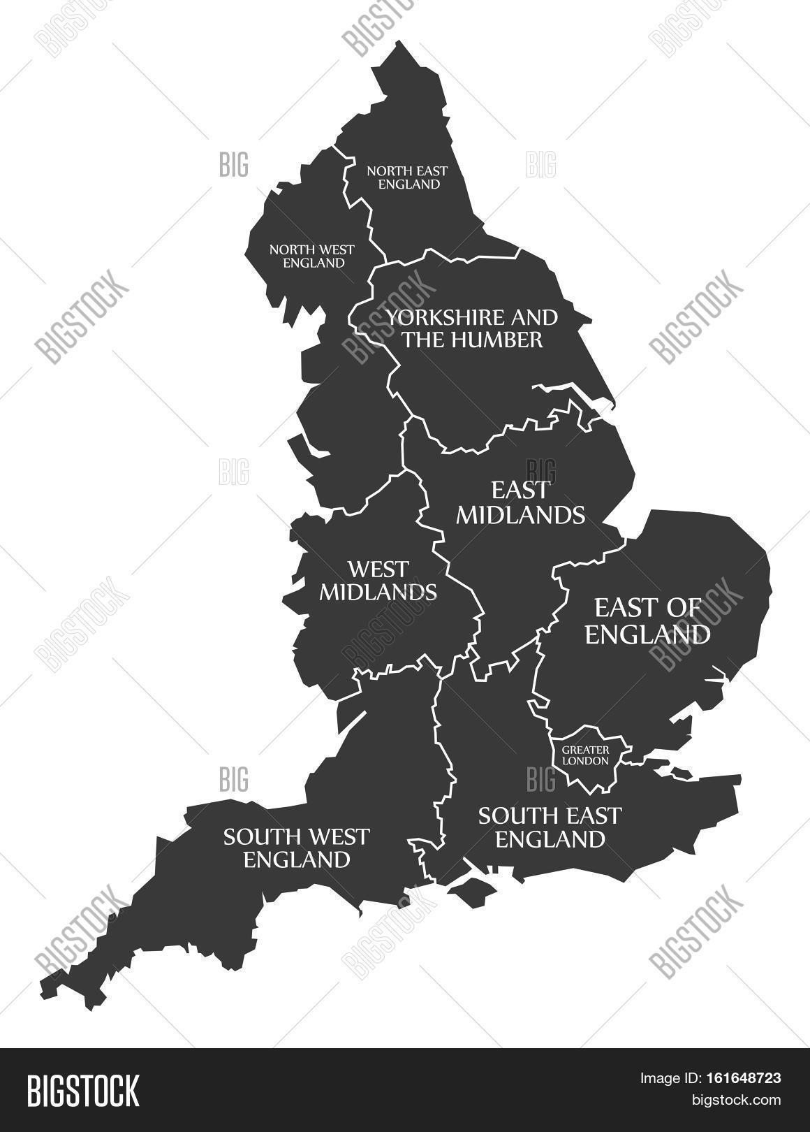 Big Map Of England.England Map Labelled Image Photo Free Trial Bigstock
