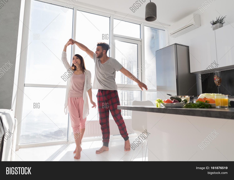 Young Couple Dancing Kitchen, Image & Photo   Bigstock