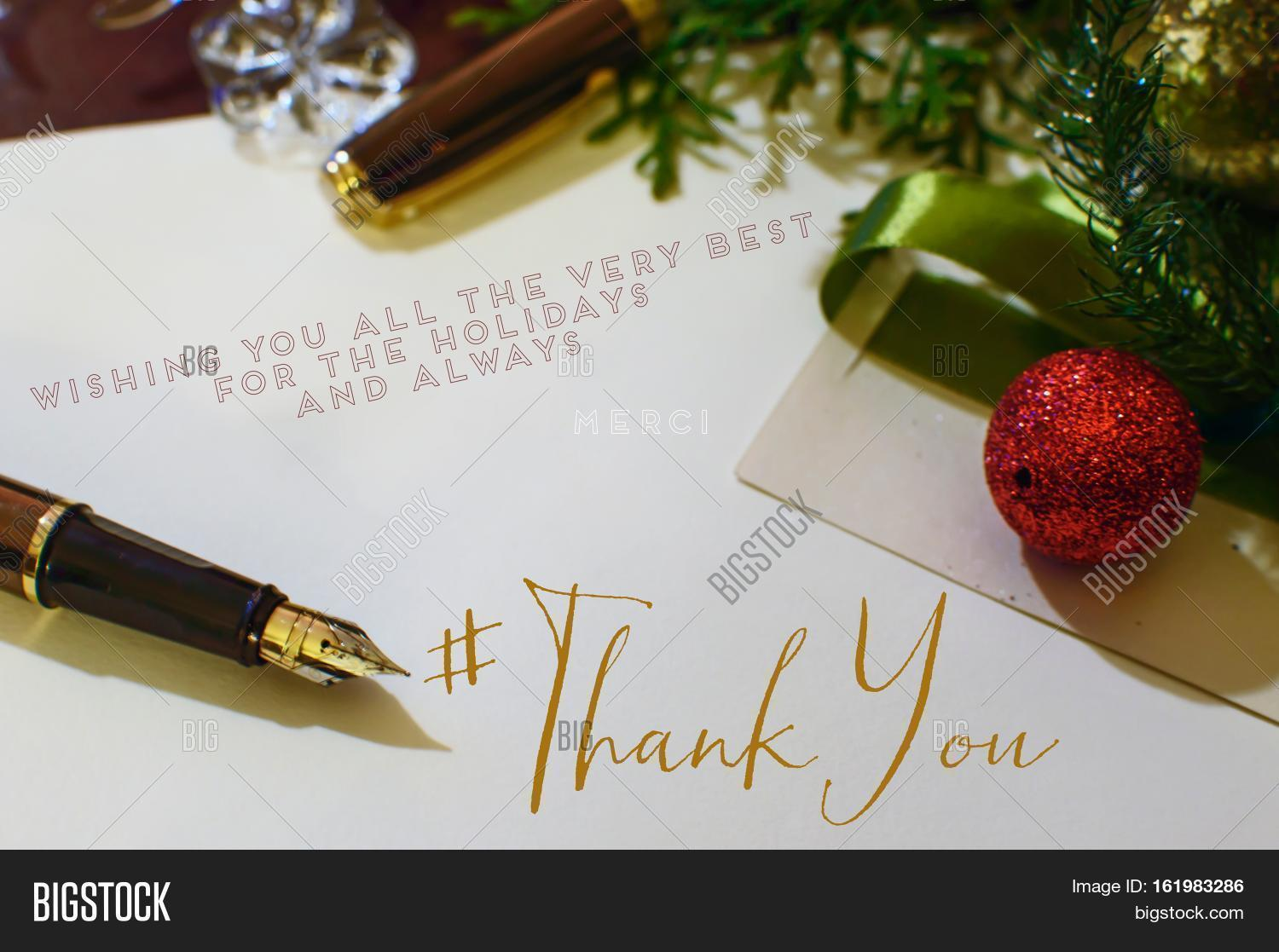 Christmas thank you image photo free trial bigstock christmas thank you card with hashtag to send seasons greetings to social network friends m4hsunfo