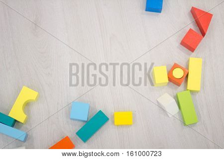 Scattered Heap Toy Colored Wooden Bricks