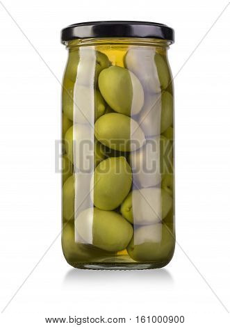 Green olives preserved in bank bottle isolated on white with clipping path