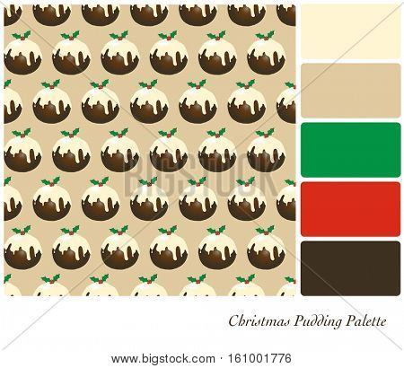 A seamless design of Christmas puddings with brandy butter and a sprig of holly with berries. Design set in a colour palette with complimentary colour swatches. EPS10 vector format.