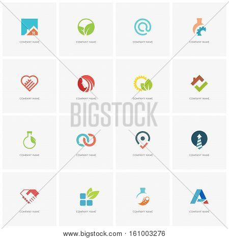Total logo set - real property, science, industry, love, business, beauty, nature and ecology flat icons.