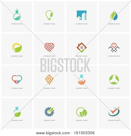 Total logo set 3 - real property, science, industry, love, business, nature and ecology flat icons.