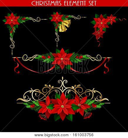 Christmas decoration elements set with evergreen treess holly golden bels and poinsettia isolated on black with swirls for corners poster