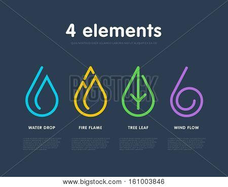 Nature elements. Water, Fire, Earth, Air. Infographic elements. Nature logo. Alternative energy sources. Fire line logo. Water line logo. Air line logo. Earth line logo. Eco logo