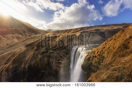 Photo of a Breathtaking Waterfall Skogafoss in Iceland