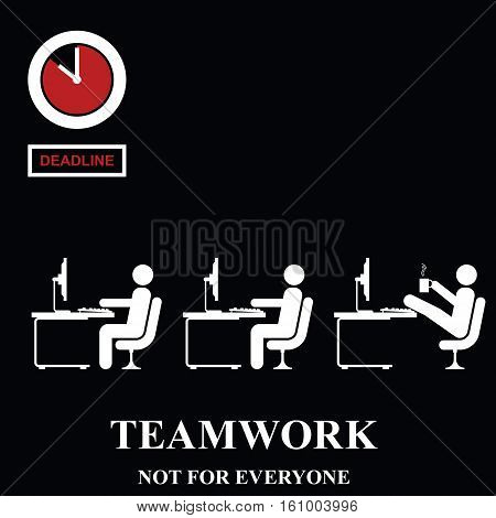 Teamwork is not for everyone in the workplace isolated on black background