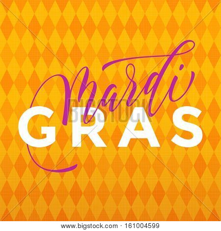 Mardi Gras gold glitter calligraphy harlequin yellow pattern background. Masquerade carnival lettering. Australian Mardi Gras parade, American New Orleans Louisiana Fat Tuesday celebration poster