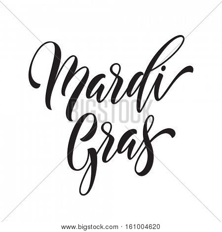 Mardi Gras carnival holiday text of calligraphy lettering. Fat or Shrove Tuesday american Louisiana traditional celebration. Sydney Mardi Gras pride parade masquerade or party