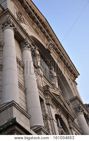 Lviv opera and ballet theatre classic facade exterior. Viennese neo-Renaissance style