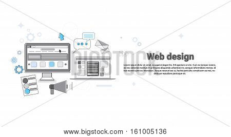 Graphic Web Design Creative Designer Work Equipment Concept Banner Thin Line Vector Illustration