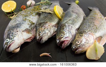 Trout On A Wooden Table