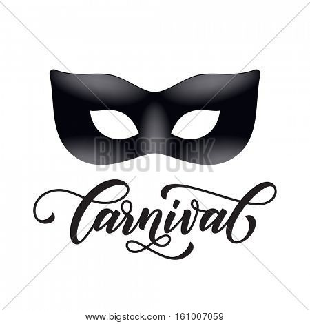 Mardi Gras mask carnival calligraphy lettering for Venetian masquerade festival, Fat Tuesday celebration in New Orleans or Australian Mardi Gras traditional parade