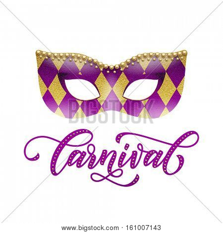 Carnival text. Mask of golden glitter with harlequin pattern and gold beads. Mardi Gras masquerade lettering for Venetian festival, Fat Tuesday celebration in New Orleans, Australian Mardi Gras parade