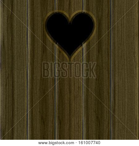 Heart cut out in wooden planks with dark space behind