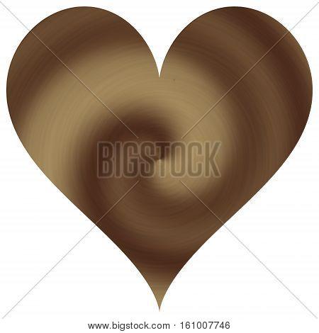Ivory creamy wavy heart on white background
