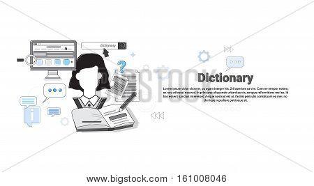 Dictionary Vocabulary Technology Translation Tool Web Banner Vector Illustration