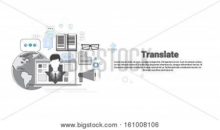 Translate Dictionary Vocabulary Technology Translation Tool Web Banner Vector Illustration