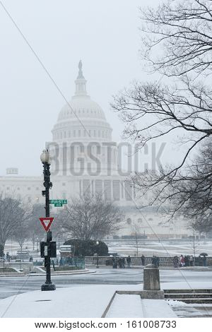 Washington DC in winter - The Capitol under snow