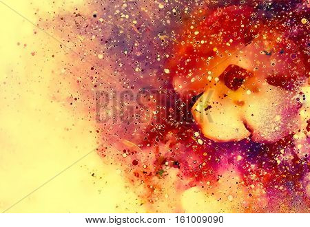 Cosmic space with flower, color galaxy background, computer collage. Cosmic space with flower, color galaxy background, computer collage. Copy space