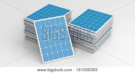 3D Rendering Solar Panels Stack
