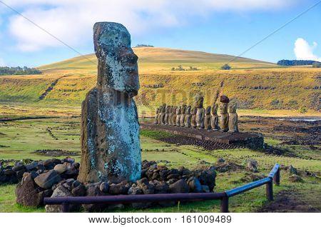 Several Moai at Ahu Tongariki on Easter Island Chile