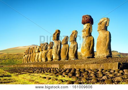 View of Moai with a beautiful blue sky on Easter Island in Chile