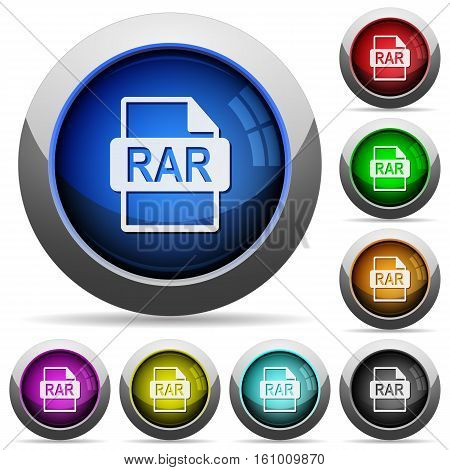 RAR file format icons in round glossy buttons with steel frames