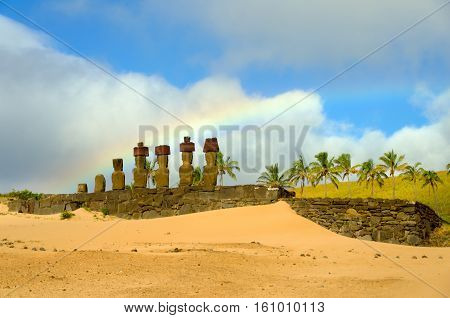 Rainbow over Moai at Anakena Beach on Easter Island Chile