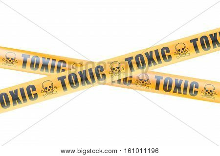 Toxic Caution Barrier Tapes 3D rendering isolated on white background