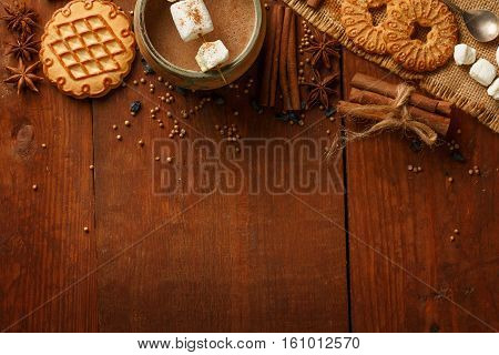 Composition Of Cocoa With Marshmallow, Biscuit Cookies, Anisetree Stars, Cinnamon Barks, Dried Barbe