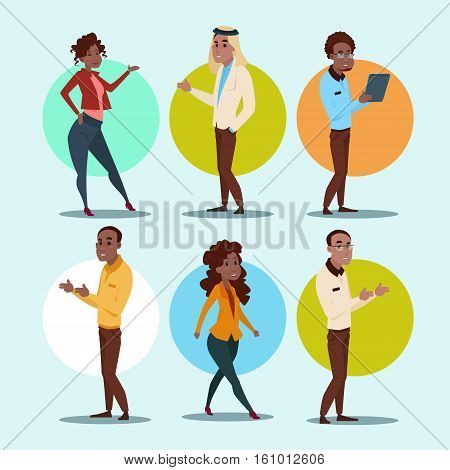 Ethnic Business People Group Set Mix Race Businesspeople Team Flat Vector Illustration