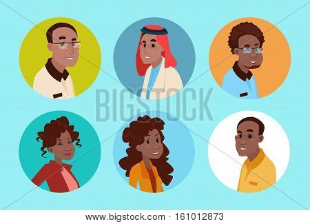 Ethnic Business People Group Icon Set Mix Race Businesspeople Team Flat Vector Illustration