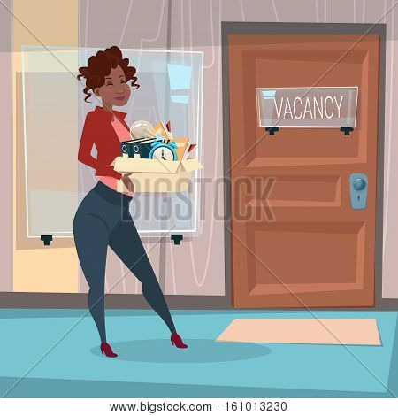 African American Business Woman Recruitment New Job Position Vacancy Office Interior Mix Race Businesswoman Flat Vector Illustration
