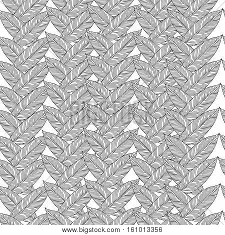 Raster seamless pattern with tribal leaf. Tribal forest pattern. Nature backdrop, repeated background. Can be used as adult coloring book, coloring page. Foliage