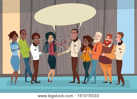 Ethnic Business People Group Meeting Mix Race Team Businesspeople Communication Flat Vector Illustration