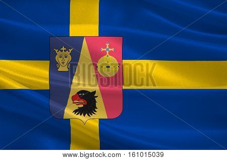 Flag of Stockholm County is a county on the Baltic sea coast of Sweden. 3d illustration