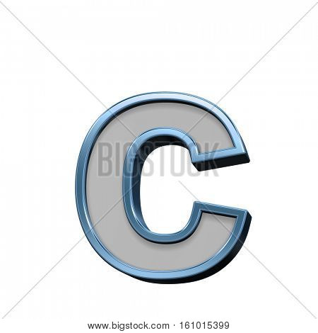 One lower case letter from gray with blue frame alphabet set, isolated on white. 3D illustration.