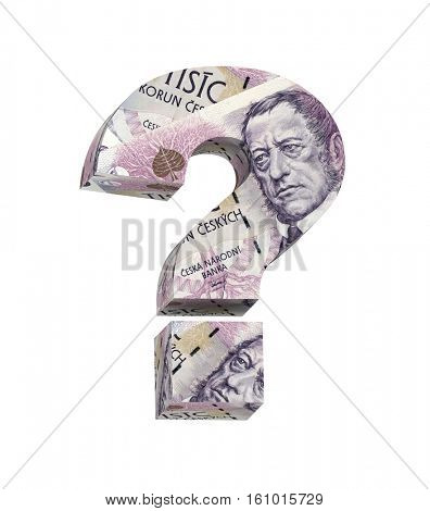 Question mark from Czech krone bill isolated over white. 3D illustration.