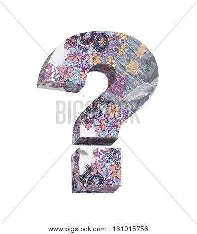 Question mark from Argentine peso bill isolated over white. 3D illustration.