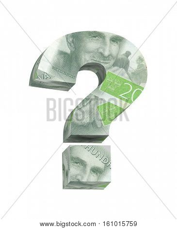 Question mark from Swedish krone bill alphabet set isolated over white. Computer generated 3D photo rendering.
