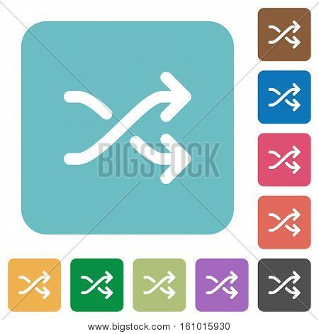 Media shuffle flat icons on simple color square background.