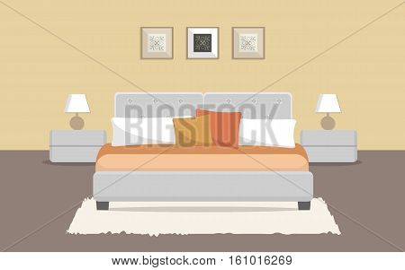 Bedroom in a beige color. There is a bed, bedside tables, lamps and other objects in the picture. Vector flat illustration