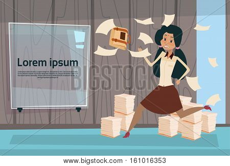 Indian Busy Business Woman Run Throwing Paper Documents Paperwork Flat Vector Illustration